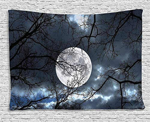 COLORFULSKY Farm House Decor Tapestry, Full Moon at Night in The Forest Winter Time Mystical Dramatic Days Luna Photo, Wall Hanging for Bedroom Living Room Dorm, 60 L X 80 -