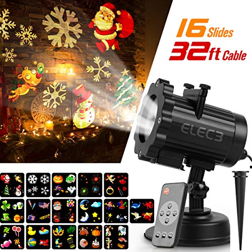 Halloween Star (Elec3 Christmas Projector Light, 16 Exclusive Design Slides Landscape Motion Projector Lights with Remote Control, 32ft Power Cable for Decoration Lighting on Halloween Holiday Party)