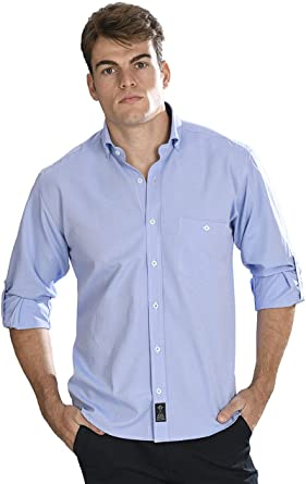 Camisa Oxford Manga Larga de Hombre en Azul ozono: Amazon.es: Ropa y accesorios