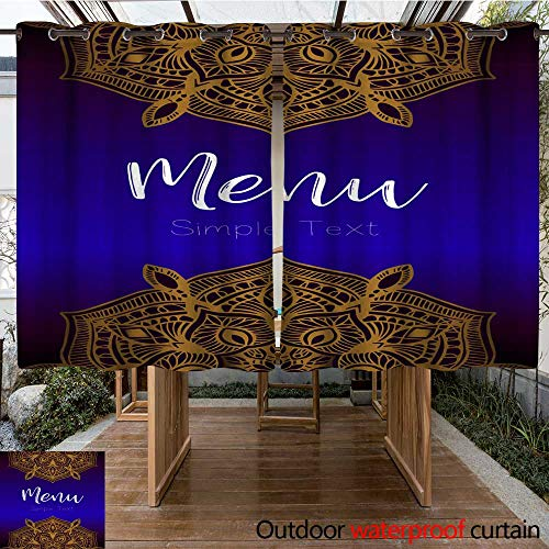 - RenteriaDecor Outdoor Curtain for Patio Menu Mandala Vintage Template Card Greeting Invitation Card Set Vector Illustration W108 x L72