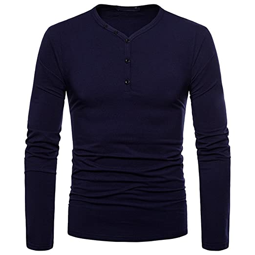 84375c2e5440a OrchidAmor Fashion Men s Personality Slim Fit Casual Long Sleeve Solid  Shirt Top Blouse Navy