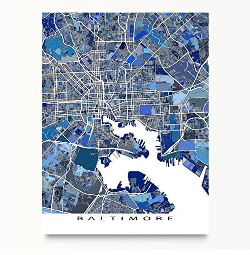 Amazon baltimore map print maryland usa city street art blue maps as art gumiabroncs Choice Image