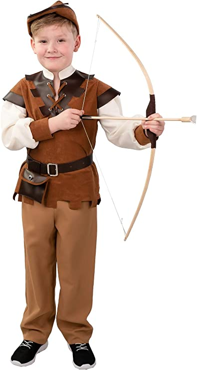 Medieval Hunter Boys Fancy Dress Robin Hood Kids Children World Book Day Costume