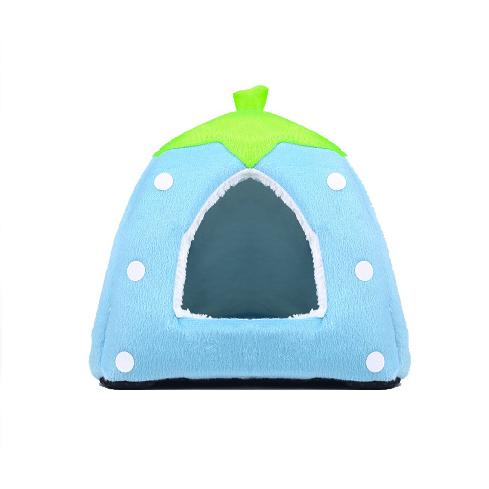 Spring Fever Strawberry Guinea Pigs Fleece House Rabbit Cat Pet Small Animal Bed Blue L (16.916.90.8 inch)