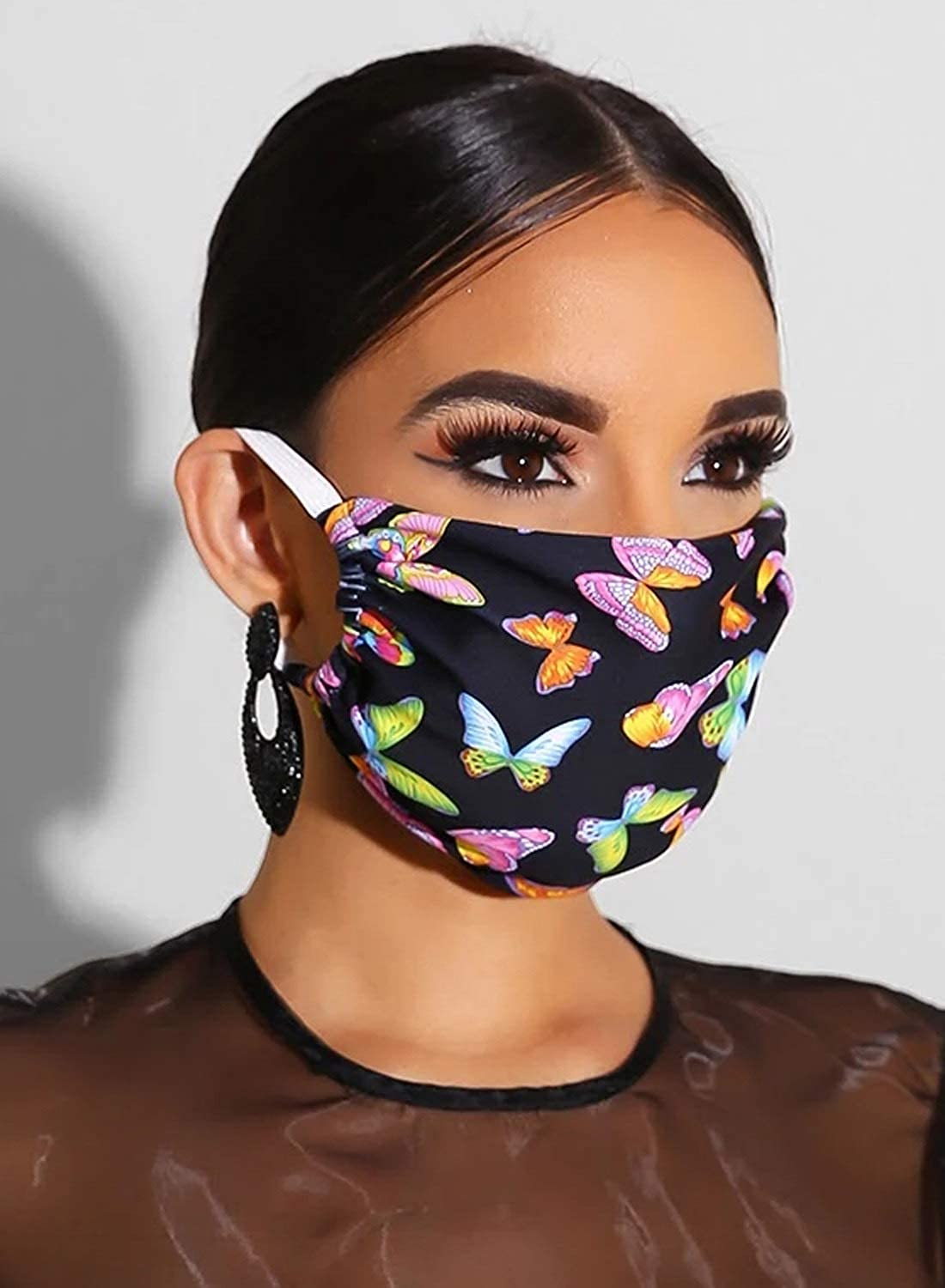 Womens Outdoor Protector Mouth Cover Floral Print Face Cover with Elastic Earloops