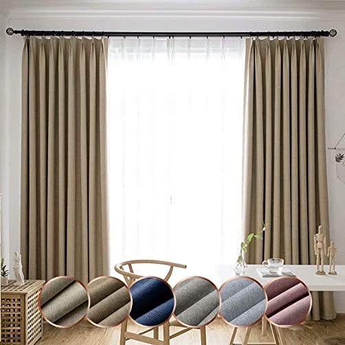 Leadtimes Solid Bedroom High Shading Curtains Linen Look Drapes 102 Inch Extra Wide Grommet Top Room Darkening Window Treatment Beige, 100 W x 102 L