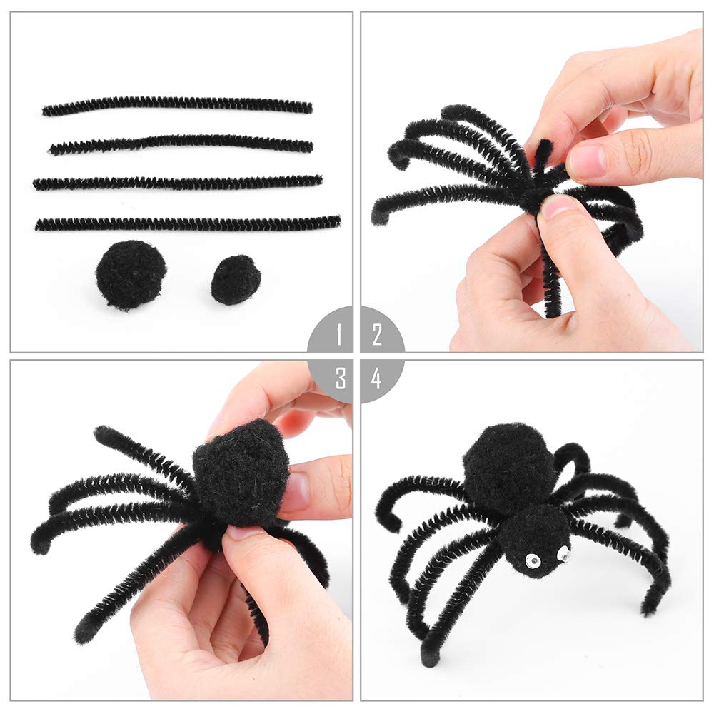 Safe and Humanized Design for DIY Art Craft Decorations Caydo 200 Pieces Black and White Pipe Cleaners Chenille Stem 6 mm x 12 Inch Smooth Processing at Both Ends