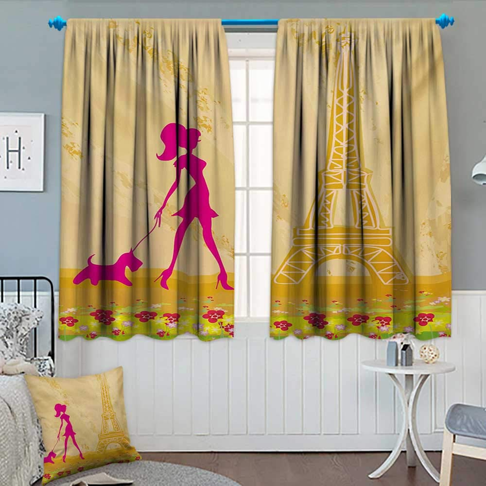 Teen Room,Blackout Curtain,Pink Silhouette of A Girl with The Dog Eiffel  Tower in Paris Design,Room Darkening Curtains,Apricot and Hot Pink,W55 x  L72 inch
