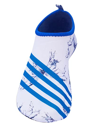 Barefoot Water Skin Shoes Aqua Socks with White Butterfly Blue Strip