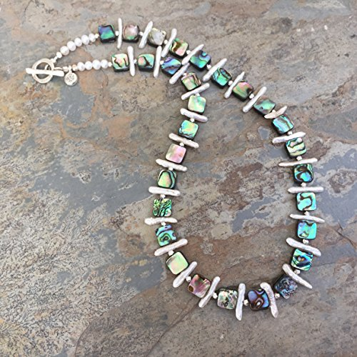 Abalone and Pearl Necklace, 18 inches long. - Abalone Cultured Pearl Necklace
