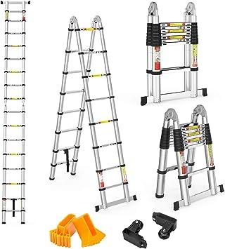 Finether 5M Escalera Telescópica de Aluminio Escalera Plegable Multifuncional Portátil Escalera Extensible Certificada por EN131, Capacidad de 150kg, Profesional: Amazon.es: Bricolaje y herramientas