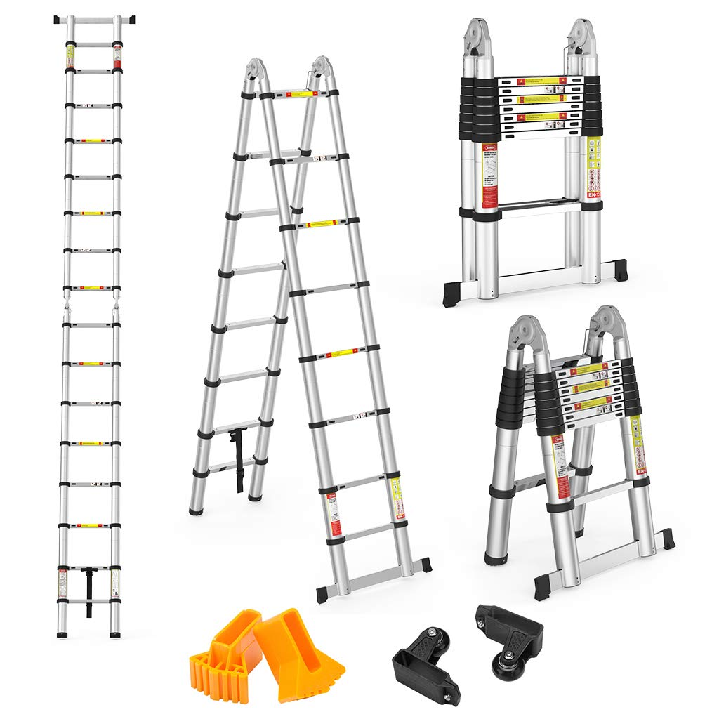 Finether 16.4ft Aluminum Telescoping Extension Ladder Portable Multi-Purpose Folding A-Frame Ladder with Hinges, 330lb Load Capacity for Home Loft Office,EN131 Certified