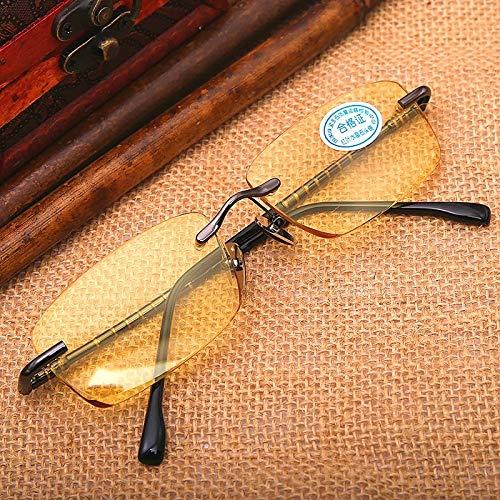 LKVNHPガラスサングラス男性ブラウンイエローサングラス用男性クリスタルストーンレンズサングラスリムレスアンチリフレクションUv400黄色   B07S4KX1JM