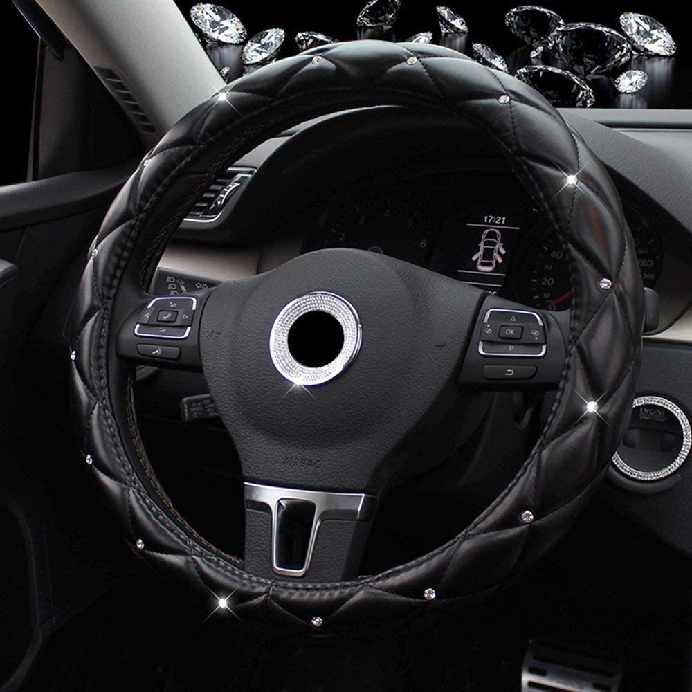 38CM//15 Universal PU Leather DAD Cystal Diamond Steering Wheel Cover Four Seasons Steering Cover for Women /& Girl RED Lisaion Car Steering Wheel Cover