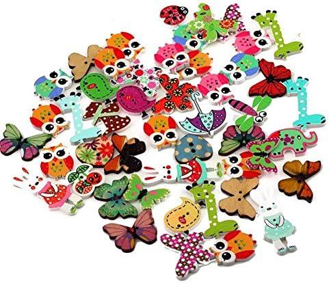 Ruikey 手芸用 ボタン セーター飾りバックル 縫製 ボタン 花 動物 虫 傘 裁縫材料 工芸品 木製 カラフル ランダムカラー 50個セット