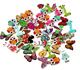 Kanggest 50Pcs Wooden Button Colorful Mixed Animal Button Flower Button Cartoon Button Sewing DIY Handmade Craft Button for Kids and Adult (Pattern Random)