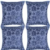 DK Homewares Ethnic Decorative Sofa Pillow Covers Blue Mirror Work Embroidered Cotton Square Cushion Covers Set Of 4 40 x 40 cm (16x16 Inch) By