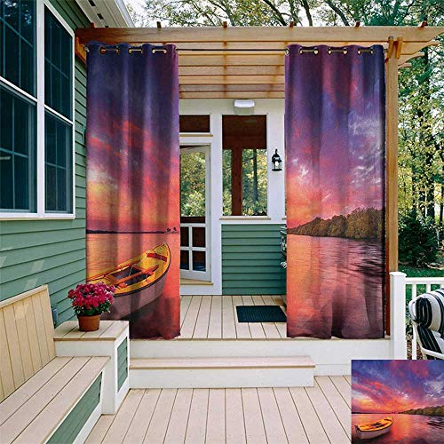 leinuoyi Sunset, Outdoor Curtain Pole, Enchanted Coast with a Rowboat Under Magical Hazy Sky Peaceful Nature Image, Set for Patio Waterproof W96 x L108 Inch Pink and Purple ()