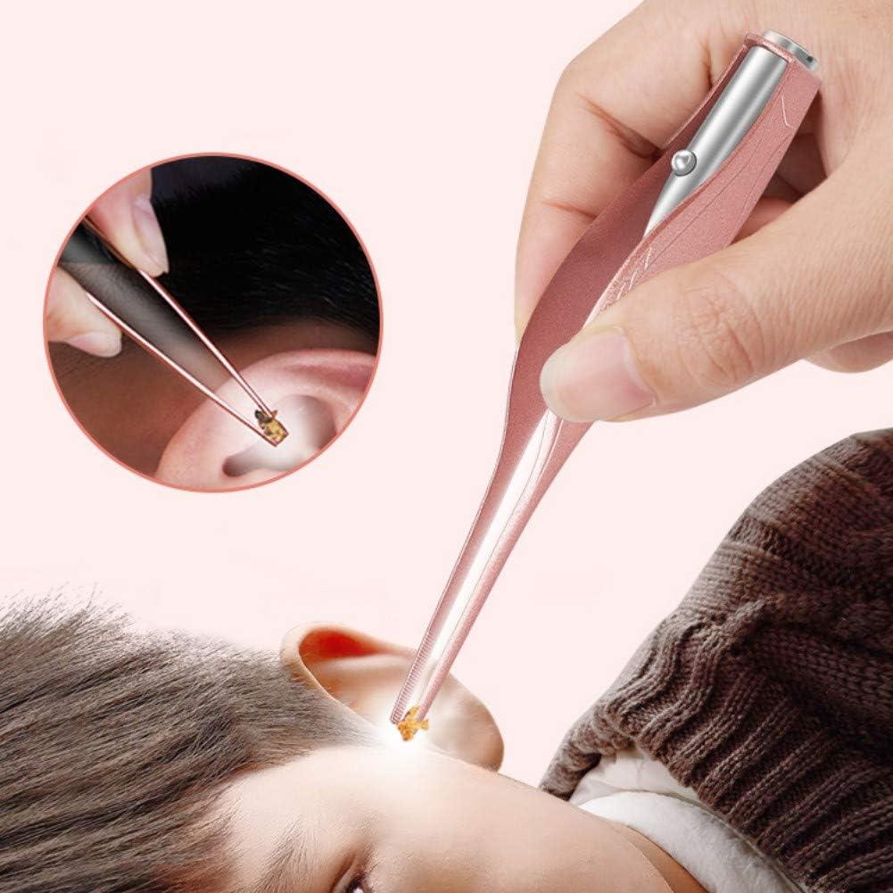 Allbestaye Ohrenreiniger Pinzette aus Edelstahl mit LED Taschenlampe Ohrenschmalz Entferner f/ür Kinder Baby