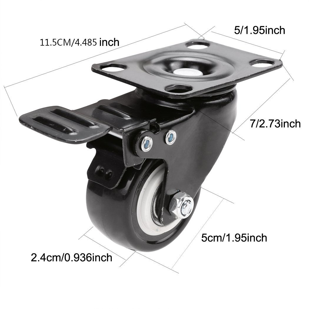 Anfan Swivel Caster Wheels Rubber Base with Top Plate /Plate Caster Wheels Set of 4 (Black) by Anfan (Image #3)