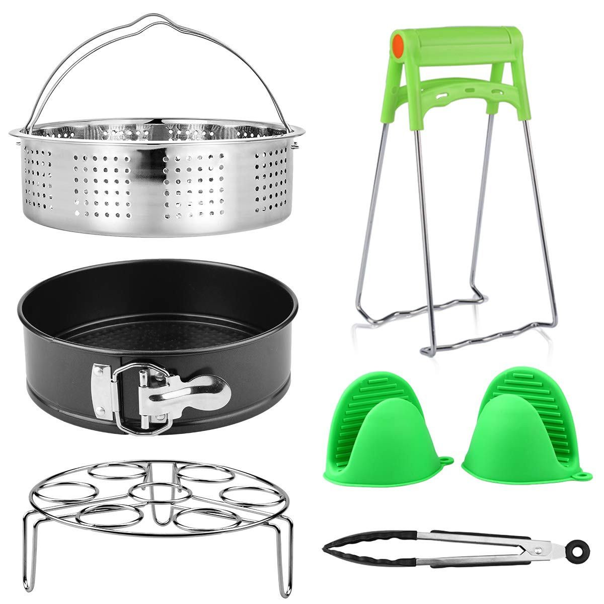 Pressure Cookers Accessories Set For Instant Pot 5 Aiduy 6pcs Pressure Cooker Accessories Set Kitchen Tongs Egg Steamer Rack Dish Clip Steamer Basket 8 Quart Silicone Oven Mitts 6 Non Stick Springform Pan