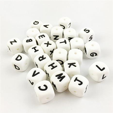 Amazon.com: 100pc alfabeto letra abalorio de silicona de ...