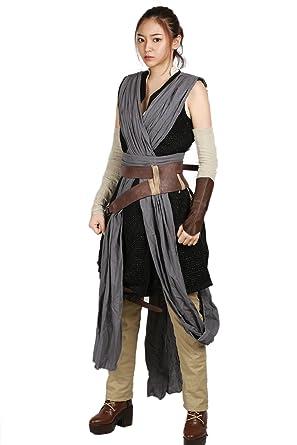 Rey Disfraz Star Wars 8 Luke Skywalker Traje Completo 9PZ Fresco Colección Costume Accesorio Halloween Carnaval PU para Película para Mujer(S-XXL)