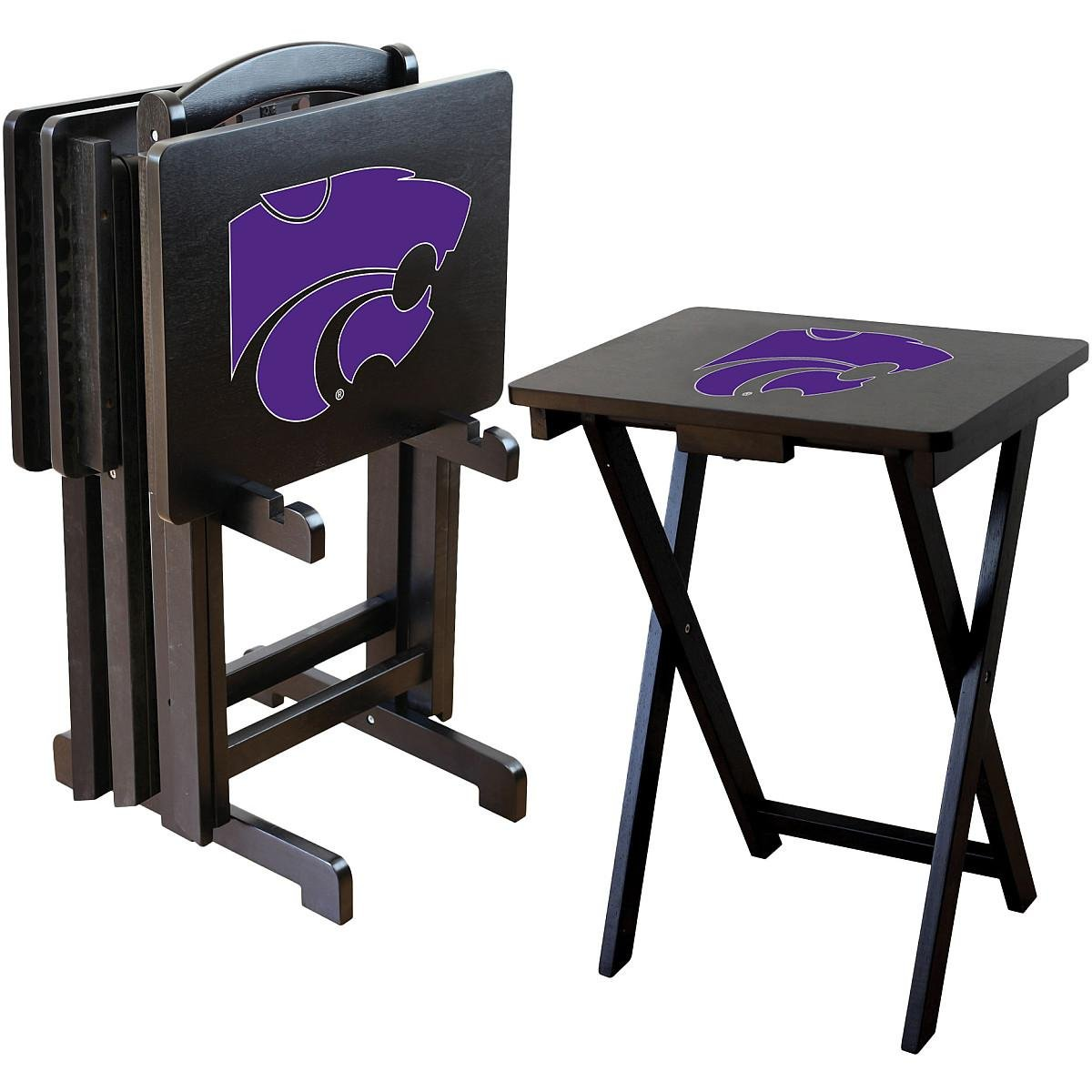 Imperial Officially Licensed NCAA Merchandise: Foldable Wood TV Tray Table Set with Stand, Kansas State Wildcats by Imperial