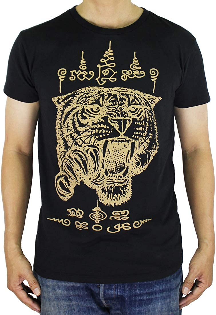 Work Muay Thai Tattoo Sak Yant Krut Tiger Prayer T-Shirt Black / WK110 Size L