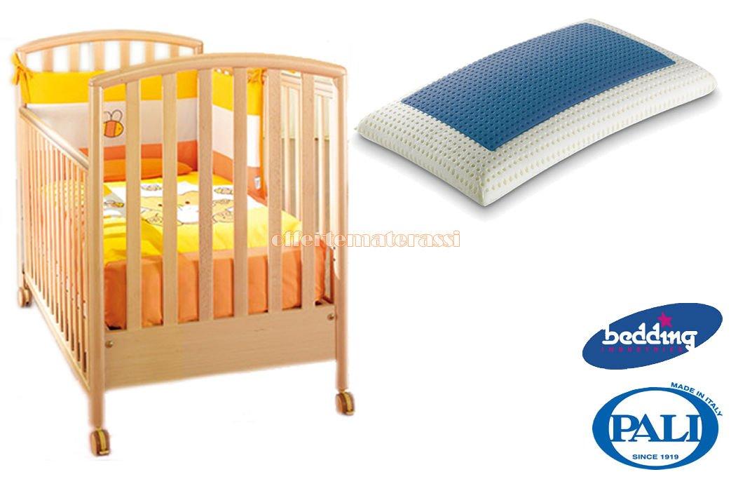 Kinderbett Pali Ciak Natur + Kissen Bedding Blue Classic aus Memory Foam