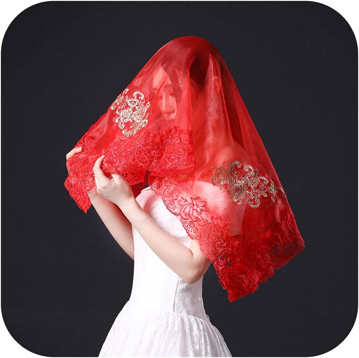 New Chinese Red Hijab Bride Wedding Embroidery Lace Blusher Veil Women Costume Photography Headdress Veils