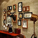 ALUS- 14 Multi Photo Frames Set American Vintage Style Bedroom Living Room Sofa Background Wall Composition Photo Frame Photo Wall ( Color : #1 )