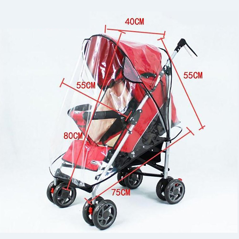 Evelin LEE Rain Wind Shield Waterproof Transparent Baby Stroller Cover Umbrella (Large)