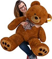 cucunu Big Teddy Bear Stuffed XL Plush Animal Large 3.3 ft for Kids and Adults with Big Pawprints and Eyes 40 Inch – Brown