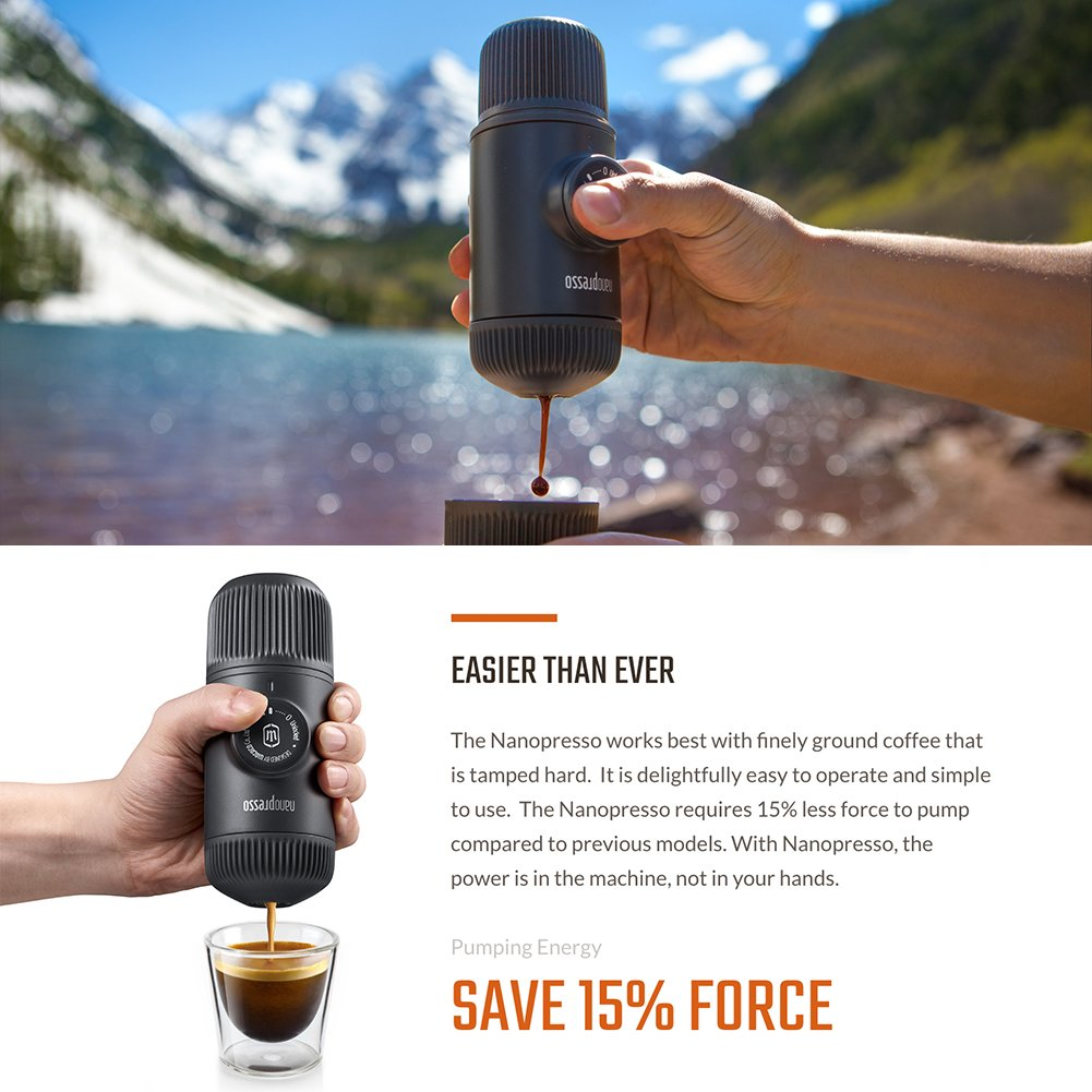 WACACO Nanopresso Portable Espresso Maker Manually Operated Perfect for Camping Upgrade Version of Minipresso Travel Extra Small Travel Coffee Maker Kitchen and Office