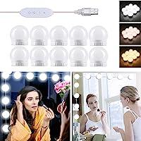 Luces para Espejo de Maquillaje LED con Interruptor y Cable, USB Puerto, 3 Colores y…