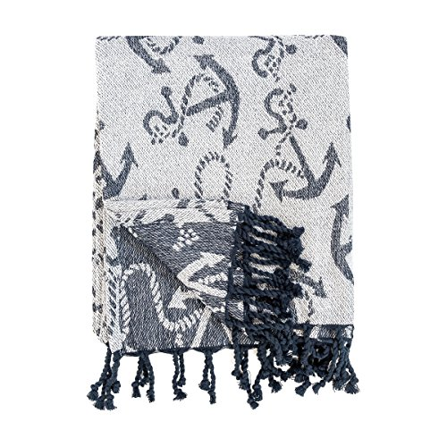 C&F Home 100% Cotton Woven Throw Blanket Navy Blue Anchors on White with Tassels -- Chenille Anchor -