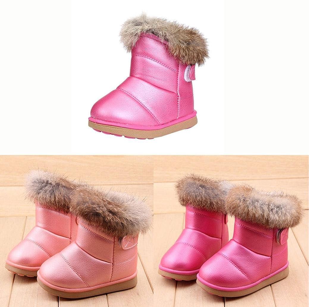 HUHU833 Kinder Mode M/ädchen Baby Stiefel Warme Watte Gepolsterten Schuhe Kaninchen-Haar Dicker Schnee Stiefel Warm Schuhe