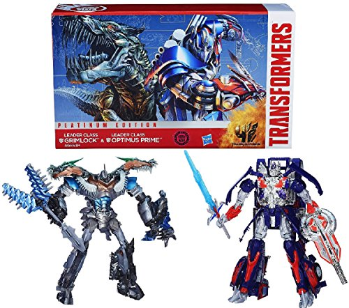 Transformers Age of Extinction Generations Collector Series Leader Class Optimus Prime and Grimlock Figures - Platinum Edition