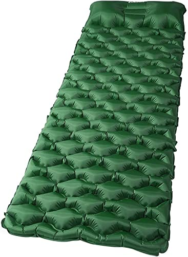 Weanas Camping Sleeping Pad, Waterproof Inflatable Camping Pad with Pillow and Storage Bag, Ultralight, Compact Air Mattress for Hiking, Backpacking, Traveling Army Green