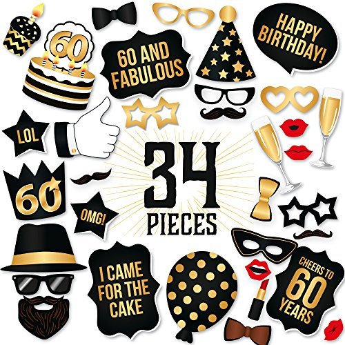 60th Birthday Photo Booth Props Fabulous Sixty Party