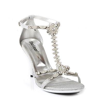 1b406f5484b Womens Ladies Evening Rhinestone Buckled T-bar Ankle Strap Open Toe  Stiletto Party Bridal Sandals
