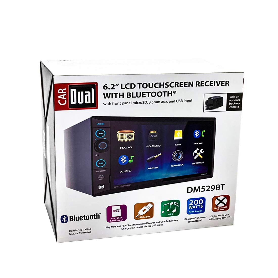 Dual 6.2'' Double-DIN in-Dash Digital Media Receiver with Bluetooth by Dual Electronics