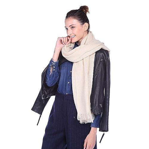 Otoño e invierno elegante dama color sólido bufanda con flecos multifuncional cálido aire acondicion...