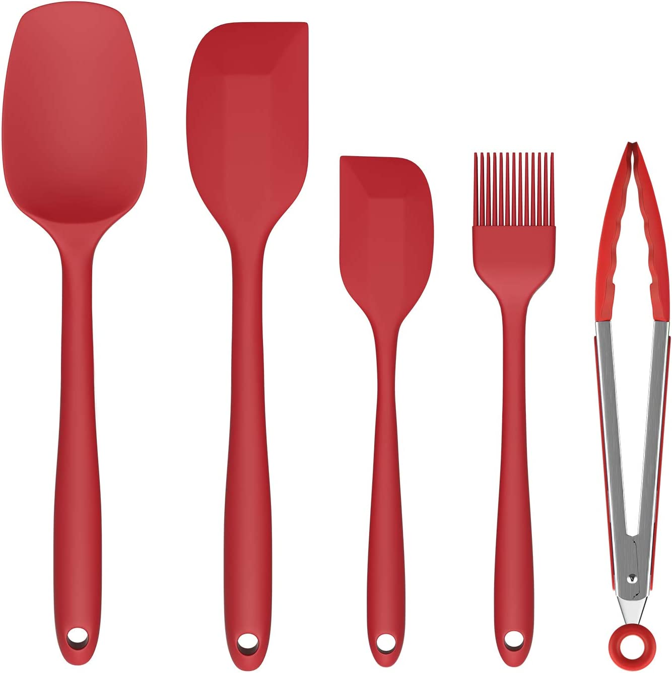 Spatula Set, Ouddy 5 Pieces Kitchen Utensils Silicone Spatula Set for Baking Cooking & Mixing, High Heat Resistant Food Grade Silicone Rubber Spatula Non-Stick Kitchen Spatula Dishwasher Safe - Red
