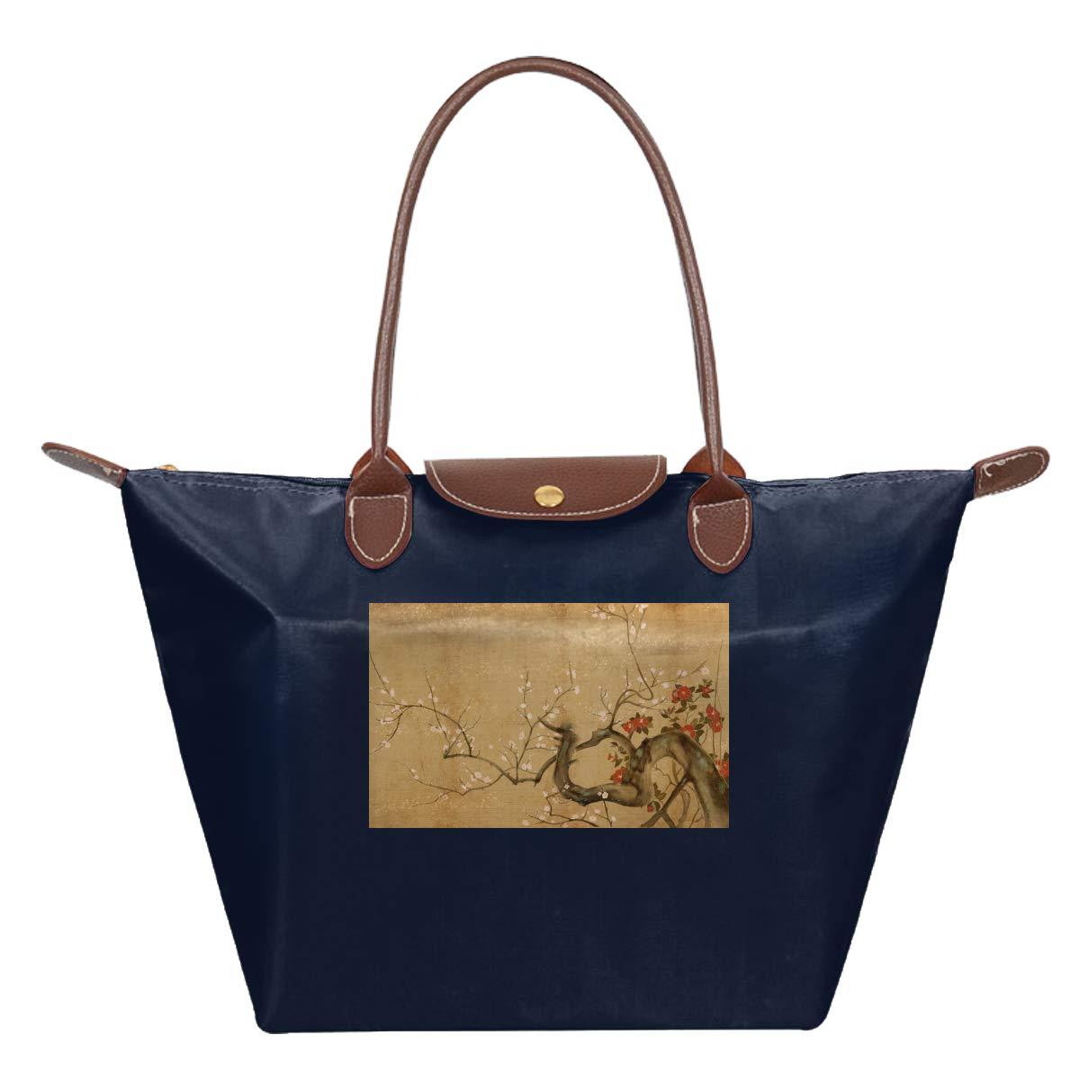 Japanese Flowers Art Waterproof Leather Folded Messenger Nylon Bag Travel Tote Hopping Folding School Handbags
