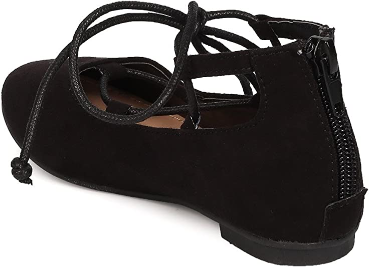 Black FB81 Faux Suede Gilly Tie Ballerina Flat Toddler Girl//Little Girl