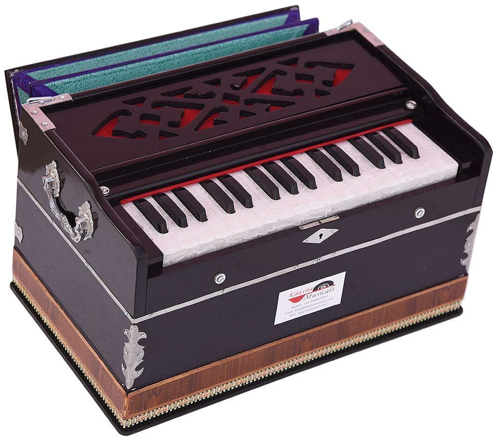 Harmonium Mini Magic By Kaayna Musicals, No Stop- 2¾ Octave, Dark Cherry Colour, Gig Bag, Bass/Male- 440 Hz, Best for Yoga, Bhajan, Kirtan, Shruti, Mantra, Meditation, Chant, etc. by Kaayna Musicals