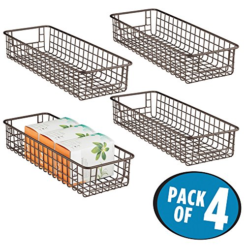 sc 1 st  mDesign & Satin Shallow Wire Storage Basket - Pack of 4 u2022 mDesign