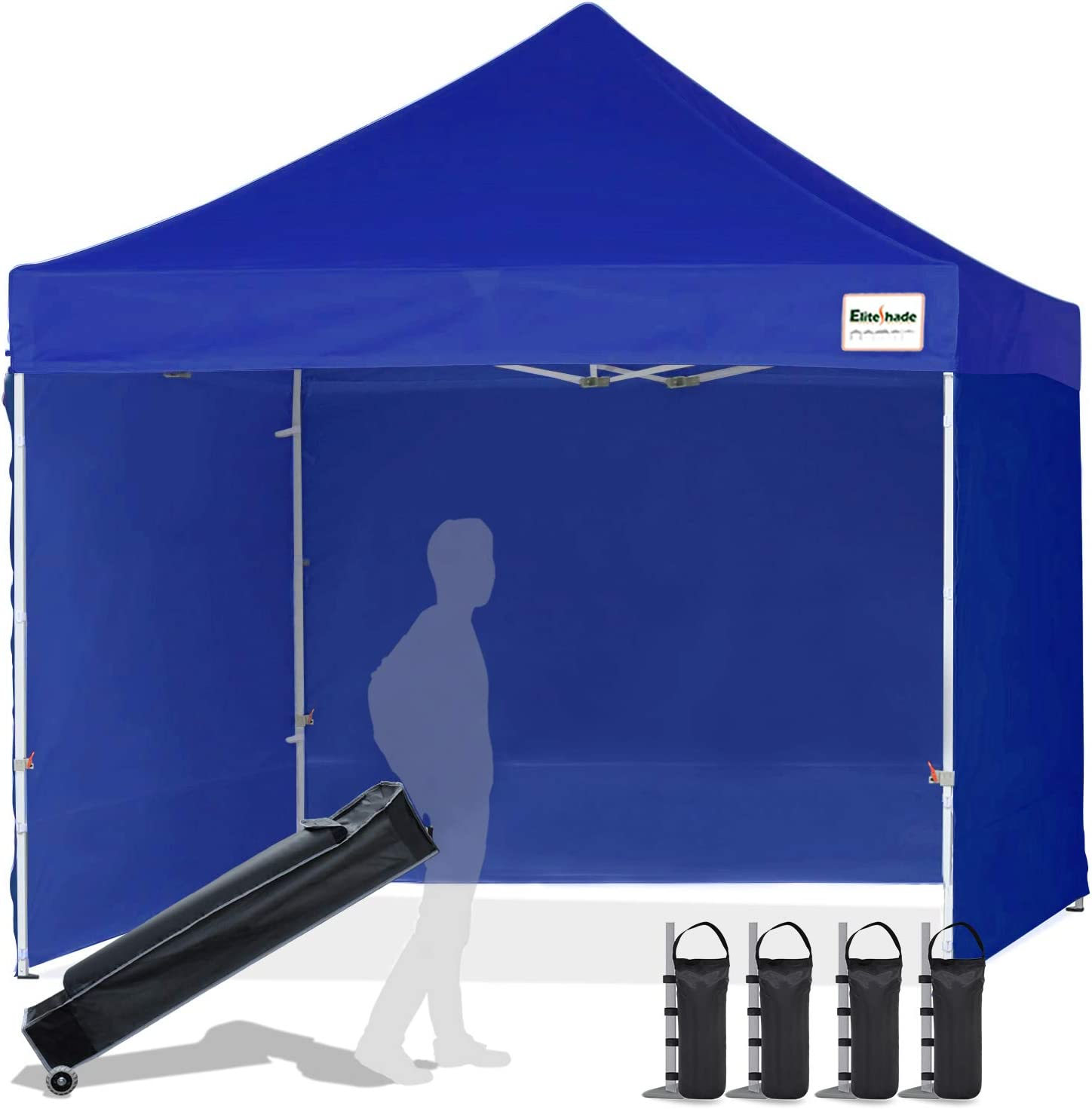 EliteShade 10 x10 Commercial Ez Pop Up Canopy Outdoor Instant Canopies Party Tent Sun Shelter with Removable Sidewalls and Heavy Duty Roller Bag,Bonus 4 Weight Bags,Royal Blue